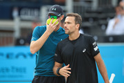 Jamie Murray of Great Britain and Bruno Soares of Brazil during their doubles semi-final match against Oliver Marach of Austria and Mate Pavic of Croatia during day six of the Fever-Tree Championships at Queens Club on June 23, 2018 in London, United Kingdom.