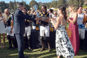 (L-R)  President of Veuve Clicquot Jean-Marc Gallot, polo player Nacho Figueras, President of Veuve Clicquot USA Vanessa Kay and Delfina Blaquier attend the Fifth-Annual Veuve Clicquot Polo Classic at Will Rogers State Historic Park on October 11, 2014 in Pacific Palisades, California.