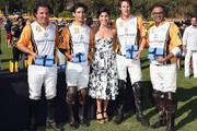 (L-R) Polo players Santiago Mendez, Marcos Llambias, President of Veuve Clicquot USA Vanessa Kay and polo players Patrick Uretz and Bash Kazi attend the Fifth-Annual Veuve Clicquot Polo Classic at Will Rogers State Historic Park on October 11, 2014 in Pacific Palisades, California.