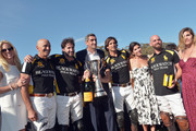 (L-R) Polo players Tom Barrack, Rico Mansur, President of Veuve Clicquot Jean-Marc Gallot, polo player Nacho Figueras, President of Veuve Clicquot USA Vanessa Kay, polo player TJ Barrack and Delfina Blaquier attend the Fifth-Annual Veuve Clicquot Polo Classic at Will Rogers State Historic Park on October 11, 2014 in Pacific Palisades, California.