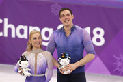Gold medal winners Aljona Savchenko and Bruno Massot of Germany celebrate during the victory ceremony after the Pair Skating Free Skating at Gangneung Ice Arena on February 15, 2018 in Gangneung, South Korea.
