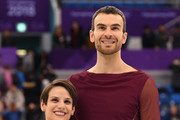 Bronze medal winners Meagan Duhamel and Eric Radford of Canada celebrate during the victory ceremony after the Pair Skating Free Skating at Gangneung Ice Arena on February 15, 2018 in Gangneung, South Korea.
