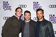 "Blake Jenner, Bart Layton and Dimitri Doganis attend Film Independent at LACMA hosts special screening of ""American Animals"" at Bing Theater At LACMA on May 18, 2018 in Los Angeles, California."