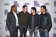 "Elvis Mitchell, Blake Jenner, Bart Layton and Dimitri Doganis attend Film Independent at LACMA hosts special screening of ""American Animals"" at Bing Theater At LACMA on May 18, 2018 in Los Angeles, California."
