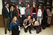 "(Backrow L-R) Josh Welsh, Lynn Shelton, Bart Davenport, Mamoudou Athie, James Ponsoldt, Karen Gillan, Jay Duplass, Jacqueline Lyanga, and (Frontrow L-R) Rachel Bleemer, Kelvin Yu, and Kelly Marie Tran attend Film Independent presents live read Of ""Singles"" at Wallis Annenberg Center for the Performing Arts on November 05, 2019 in Beverly Hills, California."