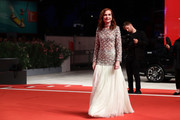 Isabelle Huppert walks the Filming In Italy red carpet during the 76th Venice Film Festival at Sala Grande on September 01, 2019 in Venice, Italy.