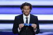Draw assistant, Diego Forlan draws D2 during the Final Draw for the 2018 FIFA World Cup Russia at the State Kremlin Palace on December 1, 2017 in Moscow, Russia.
