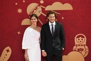 Draw assistant Diego Forlan and his wife Paz Cardoso arrive to attend the Final Draw for the 2018 FIFA World Cup football tournament at the State Kremlin Palace in Moscow on December 01, 2017. / AFP PHOTO / Kirill KUDRYAVTSEV