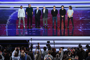 (L-R) Cafu, Laurent Blanc, Nikita Simonyan, Gordon Banks, Fabio Cannavaro, Diego Forlan and Carles Puyol pose for a photo after the rehearsal for the 2018 FIFA World Cup Draw at the Kremlin on November 30, 2017 in Moscow, Russia.