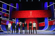 (L-R) Cafu, Laurent Blanc, Nikita Simonyan, Gordon Banks, Fabio Cannavaro; Diego Forlan and Carles Puyol pose for a photograph after the rehearsal for the 2018 FIFA World Cup Draw at the Kremlin on November 30, 2017 in Moscow, Russia.