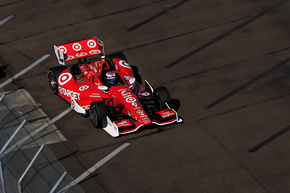 Scott Dixon of New Zealand driver of the #9 Target Chip Ganassi Racing Chevrolet drives during a warm-up session for the Verizon IndyCar Series Firestone Grand Prix of St. Petersburg at the Streets of St. Petersburg on March 30, 2014 in St Petersburg, Florida.