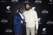Football legend Shannon Sharpe and Lakers star Anthony Davis attend the First Entertainment x Los Angeles Lakers and Anthony Davis Partnership Launch Event at The Theatre at Ace Hotel on March 4, 2020 in Los Angeles, California.