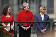 (L-R) Activist Caroline Criado-Perez, British Prime Minister Theresa May and Mayor of London Sadiq Khan attend the official unveiling of a statue in honour of the first female Suffragette Millicent Fawcett in Parliament Square on April 24, 2018 in London, England. The statue of women's suffrage leader Millicent Fawcett is the first monument of a woman and the first designed by a woman, Turner Prize-winning artist Gillian Wearing OBE, to take a place in parliament Square.