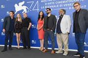 Victoria Hill (C) , Amanda Seyfried (2ndL), Paul Schrader (3rdL),  Ethan Hawke (L) and Deepak Sikka (2ndR) attend the 'First Reformed' photocall during the 74th Venice Film Festival on August 31, 2017 in Venice, Italy.