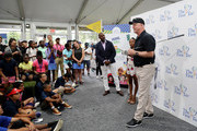 Boomer Esiason addresses the group during The First Tee Experience At The Northern Trust at Ridgewood Country Club on August 21, 2018 in Paramus, New Jersey.