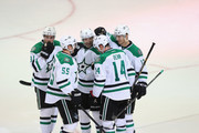 (L-R) Tyler Seguin #91, Sergei Gonchar #55, Erik Cole #72, Jamie Benn #14 and Alex Chiasson #12 of the Dallas Stars celebrate a goal by Benn against the Florida Panthers during a preseason game at American Airlines Center on September 18, 2013 in Dallas, Texas.