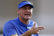 Head coach Dan Mullen of the Florida Gators reacts during the first half against the Mississippi State Bulldogs at Davis Wade Stadium on September 29, 2018 in Starkville, Mississippi.