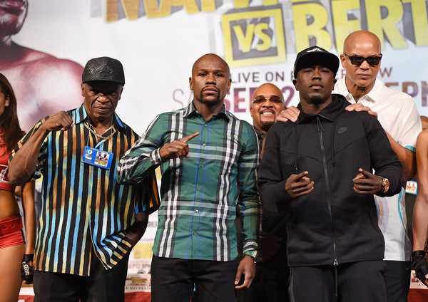 Floyd Mayweather Jr. v Andre Berto - News Conference [mayweather promotions,event,competition event,championship,team,competition,floyd mayweather jr.,andre berto,andre berto - news conference,virgil hunter,leonard ellerbe,l-r,welterweight titles,las vegas,news conference]