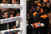 Floyd Mayweather Jr. enters the ring to take on Victor Ortiz before their WBC welterweight title fight at the MGM Grand Garden Arena on September 17, 2011 in Las Vegas, Nevada.