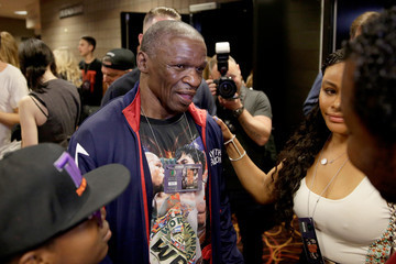 Floyd Mayweather Sr Floyd Mayweather Jr. v Manny Pacquiao - Weigh-In