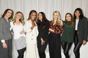 (L-R)  Cristina Ehrlich, Dr. Niamey Wilson, Janet Mock, Rosario Dawson, Sophie Elgort, Violetta Komyshan and Chanel Iman attend Forevermark Diamonds Females In Focus Photo Exhibition Event on December 6, 2018 in New York City.