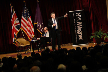 Robert Shrum Former British Prime Minister Gordon Discusses His Book At New York University