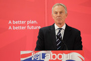 Former British Prime Minister and former Labour MP for Sedgefield, Tony Blair gives a speech to waiting party members ahead of a visit to the construction site for the new Hitachi Trains Europe factory on April 7, 2015 in Sedgefield, England. The visit came as part of Labour's campaign build up ahead of the General Election on May 7 which is predicted to be Britain's closest national election.