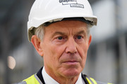 Former British Prime Minister and former Labour MP for Sedgefield, Tony Blair visits the construction site for the new Hitachi Trains Europe factory as he returns to his old constituency on April 7, 2015 in Sedgefield, England. The visit came as part of Labour's campaign build-up ahead of the UK General Election on May 7 which is predicted to be Britain's closest national election.