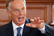 """Sir John Major (not pictured) and Tony Blair share a platform as they attend a Remain campaign at the University of Ulster  on June 9, 2016 in Derry, Northern Ireland. Former British Prime Ministers Sir John Major and Tony Blair travelled to Derry City in Northern Ireland warning that voting to leave the EU could """"jeopardise the unity"""" of the UK. They suggested that it may cause Scotland to re-visit an independence referendum and put Northern Ireland's """"future at risk"""".  Both politicians were instrumental in bringing peace to the region.  The Vote Leave campaign has said the idea that a Brexit could threaten the Northern Ireland Peace Process was irresponsible."""