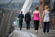 """Sir John Major and Tony Blair speak as they walk across the Peace Bridge on June 9, 2016 in Derry, Northern Ireland. Former Prime Ministers Sir John Major and Tony Blair travelled to Derry City in Northern Ireland warning that voting to leave the EU could """"jeopardise the unity"""" of the UK. They suggested that it may cause Scotland to re-visit an independence referendum and put Northern Ireland's """"future at risk"""".  Both politicians were instrumental in bringing peace to the region.  The Vote Leave campaign has said the idea that a Brexit could threaten the Northern Ireland Peace Process was irresponsible.  (Photo by Jeff J Mitchell-WPA Pool/Getty Images)"""