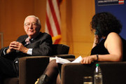 Retired Supreme Court Justice John Paul Stevens answers a question posed by Brooke Gladstone, Host and Managing Editor of National Public Radio newsmagazine at the National Constitution Center April 28 2014 in Philadelphia, Pennsylvania.  Stevens discussed his new book, Six Amendments: How and Why We Should Change the Constitution.