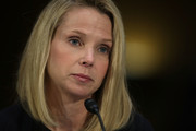 "Former CEO of Yahoo Marissa Mayer  testifies during a hearing before Senate Commerce, Science and Transportation Committee November 8, 2017 on Capitol Hill in Washington, DC. The committee held a hearing on ""Protecting Consumers in the Era of Major Data Breaches."""