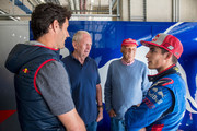 (L to R) Mark Webber of Australia, Dr. Helmut Marko, Niki Lauda and Moto GP rider Marc Marquez of Spain talk prior the F1 testing on June 5, 2018 in Spielberg, Austria.