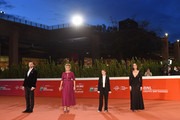 "(L-R) Director Nicolangelo Gelormini, Valeria Golino, Cristina Magnotti and Pina Turco attend the red carpet of the movie ""Fortuna"" during the 15th Rome Film Festival on October 19, 2020 in Rome, Italy."