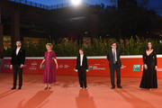 "(L-R) Director Nicolangelo Gelormini, Valeria Golino, Cristina Magnotti, Director of Rome Film Festival Antonio Monda and Pina Turco attend the red carpet of the movie ""Fortuna"" during the 15th Rome Film Festival on October 19, 2020 in Rome, Italy."