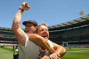 Paul Collingwood and Kevin Pietersen of England celebrate winning the Fourth Test match between Australia and England at Melbourne Cricket Ground on December 29, 2010 in Melbourne, Australia.