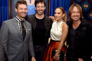 (L-R) Host Ryan Seacrest, judges musician Harry Connick, Jr., singer Jennifer Lopez and musician Keith Urban of American Idol pose at the Fox Winter TCA All-Star Party at the Langham Huntington Hotel on January 17, 2015 in Pasadena, California.