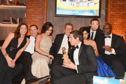 (L-R) Actress Chelsea Peretti, COO Fox Broadcasting Joe Earley, actress Melissa Fumero, Fox Chairman of Entertainment Kevin Reilly, actor Andy Samberg, actor Joe Lo Truglio, actress Stephanie Beatriz, and  actor Andre Braugher attend the Fox And FX's 2014 Golden Globe Awards Party on January 12, 2014 in Beverly Hills, California.