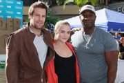 "(L-R) Actors Geoff Stults, Maddie Hasson and Michael Clarke Duncan attend Fox's ""The Finder"" Challenge at Hollywood & Highland Courtyard on January 9, 2012 in Hollywood, California."