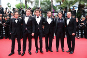 (L-R) Mark Ruffalo, Channing Tatum, director Bennett Miller, Steve Carell, Megan Ellison and Jon Kilik attend the 'Foxcatcher' premiere during the 67th Annual Cannes Film Festival on May 19, 2014 in Cannes, France.