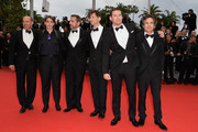 """Jon Kilik, Megan Ellison, Steve Carell, Bennett Miller, Channing Tatum and Mark Ruffalo attend the """"Foxcatcher"""" premiere during the 67th Annual Cannes Film Festival on May 19, 2014 in Cannes, France."""