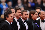 "(L-R) Mark Ruffalo, Channing Tatum, director Bennett Miller, Steve Carell, Megan Ellison and Jon Kilik attend the ""Foxcatcher"" premiere during the 67th Annual Cannes Film Festival on May 19, 2014 in Cannes, France."
