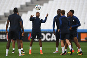Patrice Evra of France heads the ball during the UEFA EURO 2016 Group A match between France and Albania at Stade Velodrome on June 14, 2016 in Marseille, France.