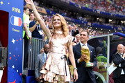 Supermodel and philanthropist, Natalia Vodianova and Former German International Footballer Philipp Lahm present the 2018 FIFA World Cup Original Trophy ahead of the 2018 FIFA World Cup Final between France and Croatia at Luzhniki Stadium on July 15, 2018 in Moscow, Russia.