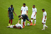 Mathieu Valbuena of France stands over Wilson Palacios of Honduras during the 2014 FIFA World Cup Brazil Group E match between France and Honduras at Estadio Beira-Rio on June 15, 2014 in Porto Alegre, Brazil.