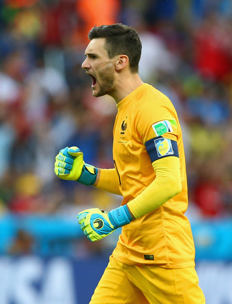 Hugo Lloris of France celebrates his team first goal scored after a penalty kick during the 2014 FIFA World Cup Brazil Group E match between France and Honduras at Estadio Beira-Rio on June 15, 2014 in Porto Alegre, Brazil.