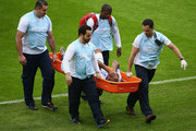 Wilson Palacios of Honduras is stretchered off the field during the 2014 FIFA World Cup Brazil Group E match between France and Honduras at Estadio Beira-Rio on June 15, 2014 in Porto Alegre, Brazil.