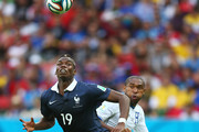 Wilson Palacios of Honduras fouls Paul Pogba of France resulting in a penalty kick during the 2014 FIFA World Cup Brazil Group E match between France and Honduras at Estadio Beira-Rio on June 15, 2014 in Porto Alegre, Brazil.