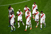 Peru player walk off the pitch at half time during the 2018 FIFA World Cup Russia group C match between France and Peru at Ekaterinburg Arena on June 21, 2018 in Yekaterinburg, Russia.