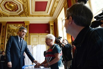 Francois Fillon Presidential Candidate Francois Fillon Votes in Paris